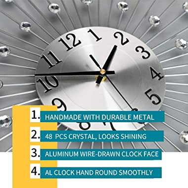 JUJUDA Large Wall Clocks for Living Room Decor Extra Modern Big Silent Wall Clocks for Home Kitchen Bedroom Indoor Decorative