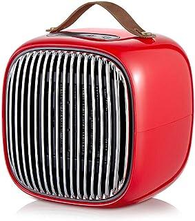 Mini calefactor de sobremesa, protección contra sobrecalentamiento con regulación de tres velocidades PTC calefacción y calefacción de cuerpo de cerámica de doble uso para baño de dormitorio,Rojo