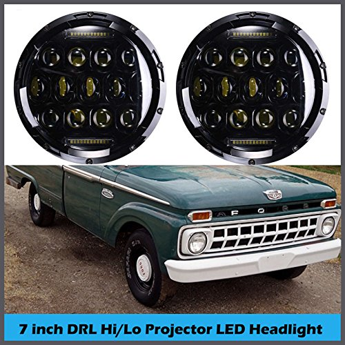 7 Inch For Ford F100 F-100 LED Round Headlights Hi/Lo Double Beam DRL Driving Lamp Replacement 75W 6000K H5024 5024 6012 6014 6015 H6017 H6024 2PCS -  Autobaba, AB 1*7P-18