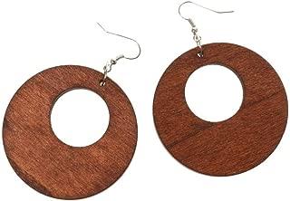Fashion Women Cutout Wood Brown Circle Drop Dangle Hook Earrings DIY Jewelry