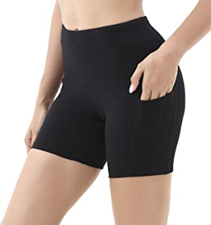 ONGASOFT Workout Cycling Running Tights Yoga Shorts High Waist Shorts with Side Pockets