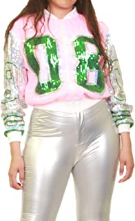 STAY CHIC Women Trendy Casual Silver Pink 08 Number Sequins Jacket