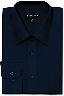 G-Style USA Men's Regular Fit Long Sleeve Solid Color Dress Shirts - Navy - X-Large - 32-33