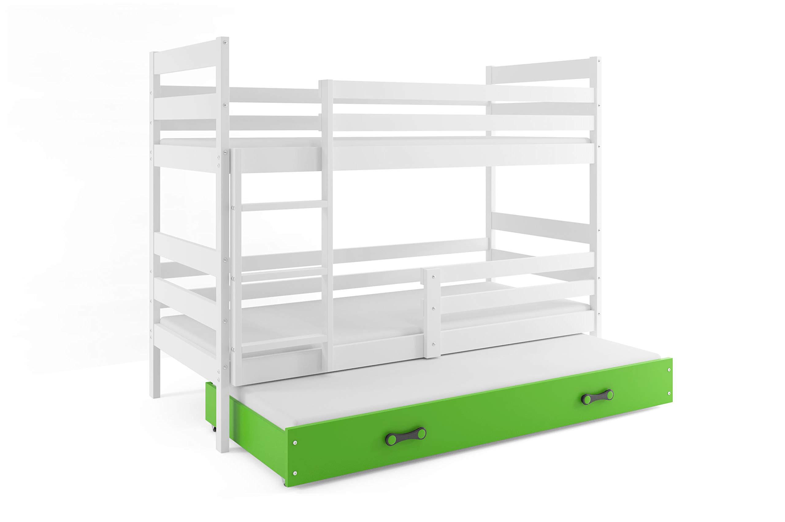 Cama litera doble infantil ERIC, color blanco, cajón verde, 200x90, con colchones de espuma GRATIS (2x 200x90y del cajón 190x80)somieres GRATIS: Amazon.es: Juguetes y juegos