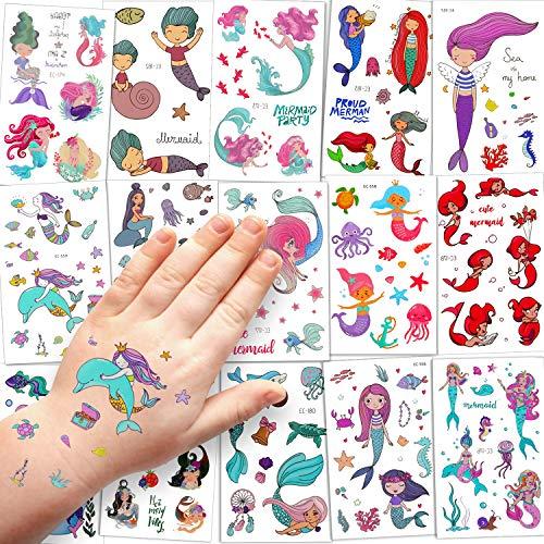 Sinwind Tattoo Kinder, 15 Blätter wasserdichte Kinder Tattoo Set, Temporäre Tattoos Aufkleber für Junge Mädchen Kinder Spielen Mitgebsel Kindergeburtstag Party (Meerjungfrau)