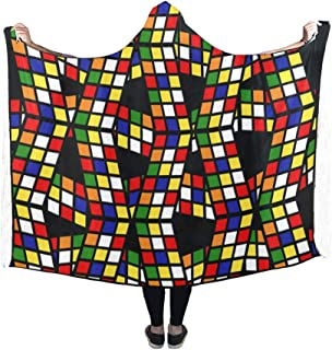 YIJIEVE Hooded Blanket Graphic Pattern Rubiks Cube Cube Puzzle Colorful Blanket 60x50 inch Comfotable Hooded Throw Wrap