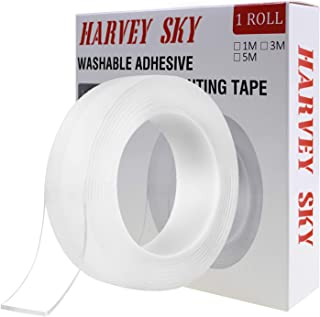 Double Sided Tape Heavy Duty, 3M Double Sided Mounting Tape, Traceless Reusable Clear Adhesive Nano Tape, Washable Removable Strong Sticky Gel Grip Tape for Home Wall Photos Posters Fix Carpet Mats