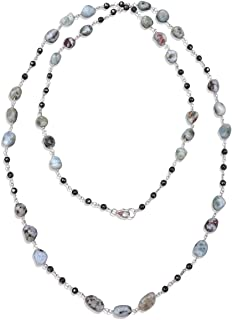 Genuine Larimar and Hematite Rosary Style Beaded Chain Wire Wrapping Long or Double Strand Necklace.