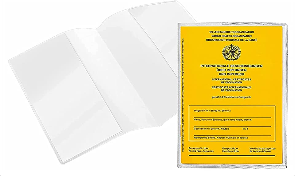 Akwjajas 4 Stück Schutzhülle Hülle für Internationalen Impfpass, Germany Impfbescheinigung Impfausweis für Kinder und Erwachsene Klare Kartenhalter wasserdichte PVC Softcard Hülle