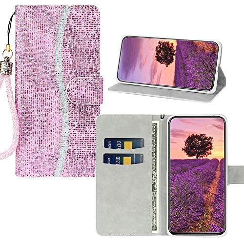 JZ [Lantejoulas] Capa de celular carteira para Samsung Galaxy S7 Edge Glitter Bling Capa protetora Flip com [alça de pulso] - Rosa