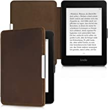 kalibri Case for Amazon Kindle Paperwhite - Book Style Real Leather Protective e-Reader Cover Folio Case - (for 2017 and Older) Brown