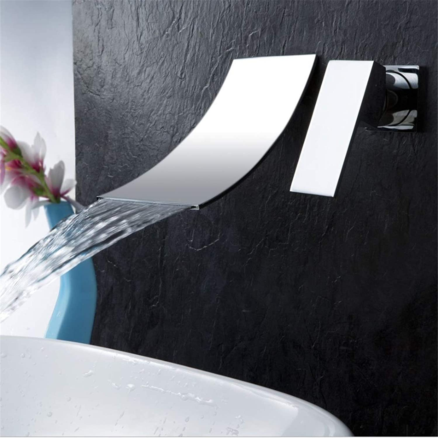 Bathroom Basin Taps Mixer,Wall Mounted Sink waterfall Taps, Hot And Cold Water Bath Filler Tap, Copper Single Handle