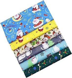 Amosfun 6 Peças de Tecido de Algodão de Natal Quadrados Quilting de Natal Panos de Patchwork Lençóis para O Feriado de Nat...