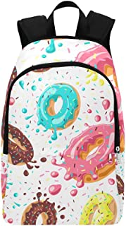 Pink Chocolate Lemon Blue Mint Donuts Casual Daypack Travel Bag College School Backpack for Mens and Women