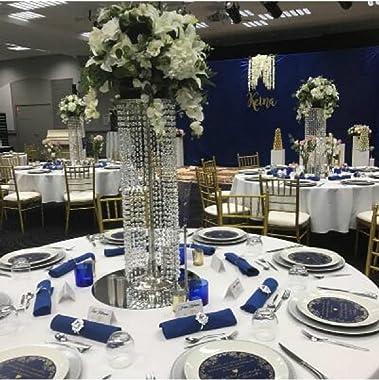 35.4'' Luxurious Crystal Flower Stand Wedding Centerpieces on Floor, Tall Metal Flower Arrangement Stand, Tabletop Fl