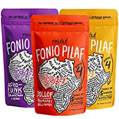 LIGHT + FLUFFY ANCIENT GRAIN PILAFS: Our best sellers! Includes three 7 oz bags (14 oz) of gluten-free, non-GMO, organically grown, ancient West African grain fonio blended with flavorful herbs and spices. One bag makes 4 cups cooked pilaf. Yolélé Fo...
