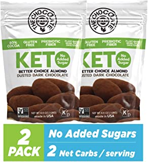 The Chocolate Trader Keto, Dusted Dark Chocolate, Almonds. No Sugar Added, Low Carb. No Sugar Alcohols, No ...
