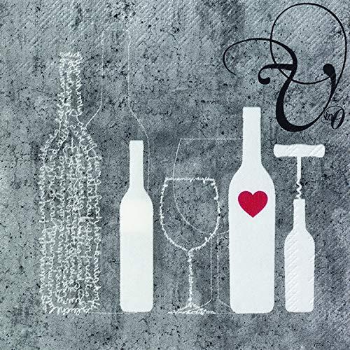 Räder Vino Serviette Flasche + Glas