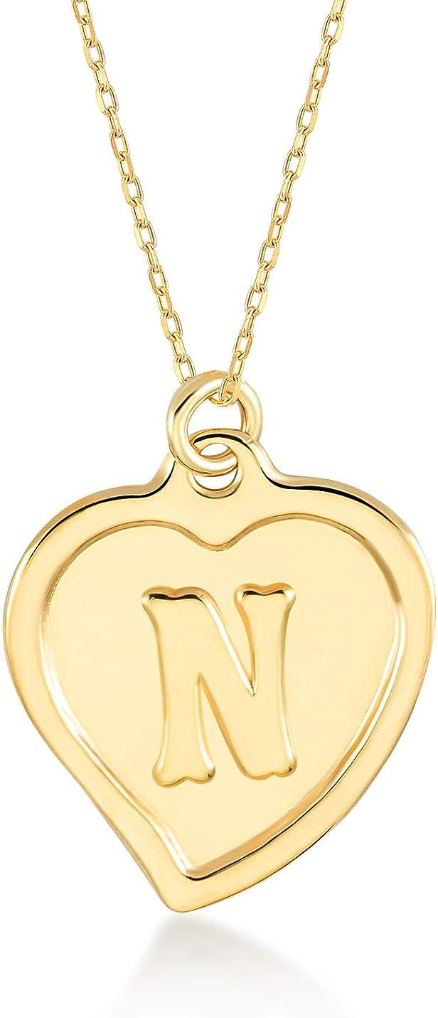 GELIN 14k Solid Gold Initial Letter Alphabet Heart Pendant Necklace for Women