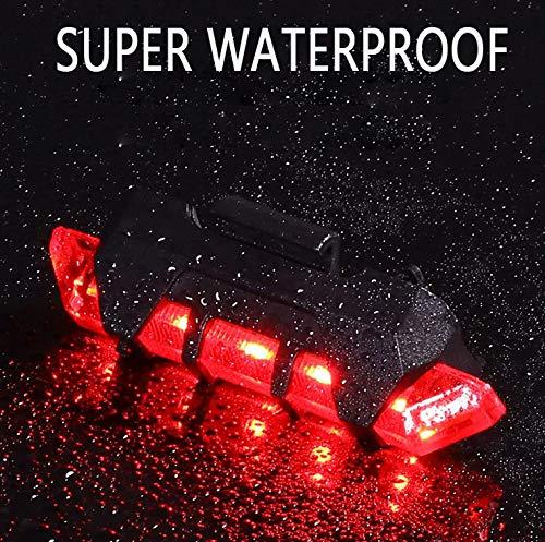 VJK USB wiederaufladbare Fahrradbeleuchtung vorne und hinten, 2 Stück Scooter-Licht, 5 LEDs, 4 Modi, vorne und hinten, Blinklicht, Sicherheitswarnlampe - 6