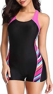 بدلة سباحة نسائية رياضية من قطعة واحدة بارجل قصيرة من ييليشا، بدلة سباحة رياضية للمراهقين بارجل قصيرة