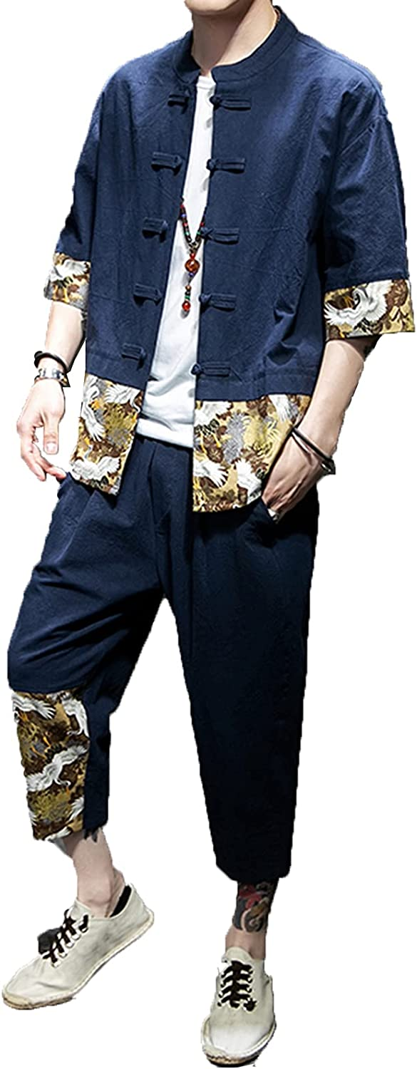 SADWQ Kungfu Men's Hanfu Summer Chinese Suit Cotton and Linen Tang Suit disc Buckle Printing Two-Piece Suit(Navy Blue,Asian 4XL)