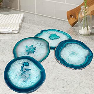 """AMOYSTONE Teal Agate Coasters for Drinks Stone Coasters Set of 4 Geode Unique Gift 3-3.5"""""""