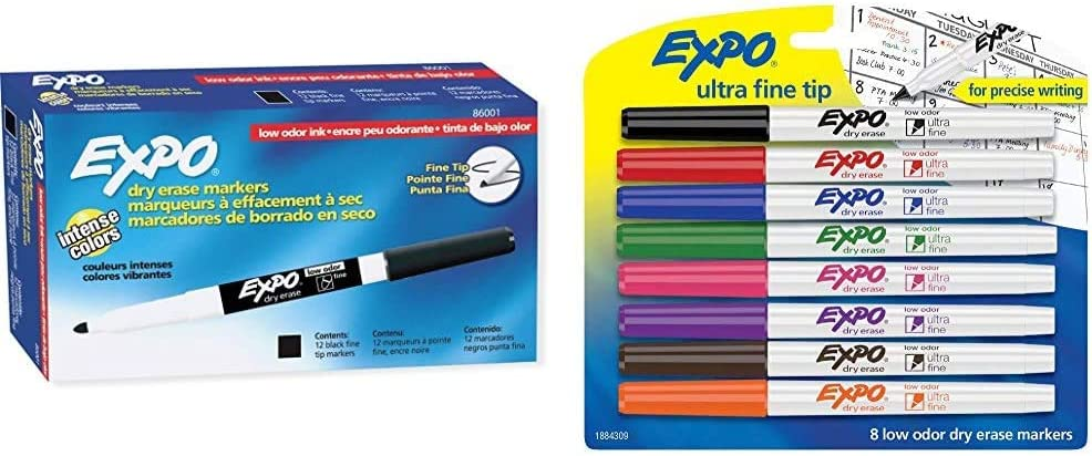 EXPO 86001 Low Odor Max 58% OFF Dry Erase Marker Black Pack of Fine gift Point