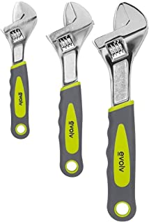Craftsman Evolv 3 Piece Adjustable Wrench Set With Ergonomic Grips Handles, 9-10063