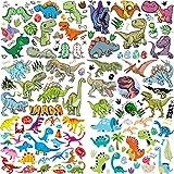 6 Hojas COKTAK 3D Dinosaurio Tatuajes Temporales Niños Fiesta Favor Decoración Cumpleaños Pequenos Tatuaje Temporal Niñas Mujer Pegatinas Temporales Cara Brazo Mano DIY T-REX Kits De Tatuajes Falsos