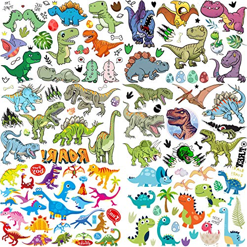 COKTAK 6 Feuilles 3D Filles Garçons Tatouages Temporaire Enfants Party Favor Décoration Dinosaure Tatouage Ephemere Bras Visage Faux Tatouage Temporaires Autocollants Kits DIY T-Rex éphémère étanche
