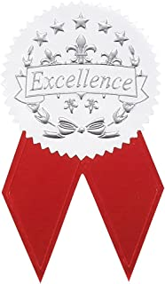 Award Stickers - 48 Silver Certificate Seals with 48 Red Ribbon Shaped Stickers, Excellence Star Stickers for Certificates