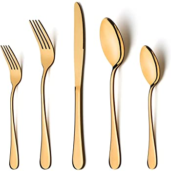 Mikasa 5190388 Delano Rose Gold Plated 20 Piece Stainless Steel Flatware Set Service For 4 Flatware Sets