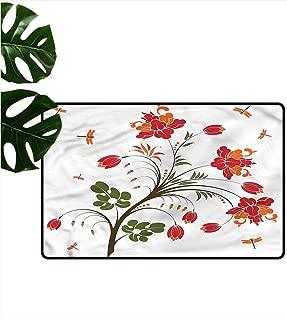HOMEDD Pet Doormat,Dragonfly Flourishing Vivid Blossom,Bathroom mat,31