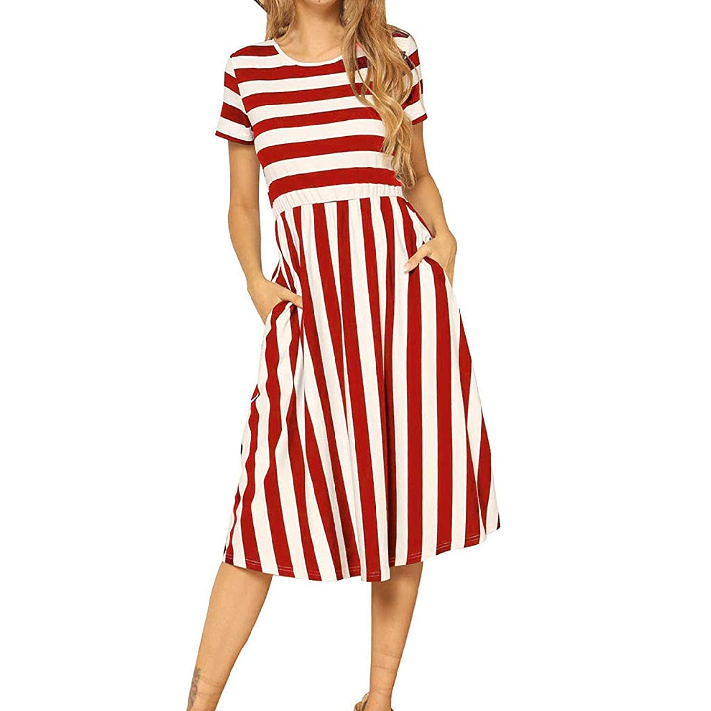 Women's Casual Short Sleeve Striped Swing Midi Dress with Pockets Loose Flowy Sundress Beach Swing Party Dresses