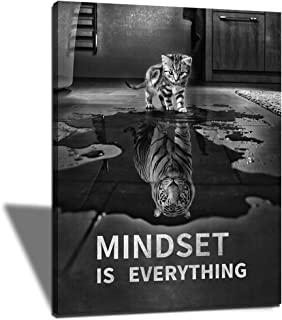 Mindset is Everything Posters Inspirational Canvas Wall Art Funny Cat Entrepreneur Quotes Poster Prints Artwork for Home Office Classroom Decoration (12''W x 18''H)