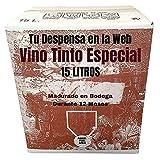 Vino Tinto Especial - Bag in Box de 15 Litros - Elaborado con un 90% tempranillo y 10% de garnachas tintas - Madurado en Bodega Durante 12 Meses