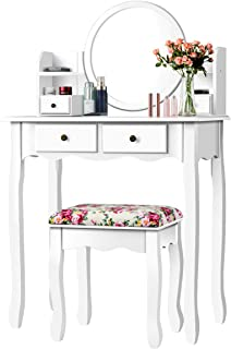 CHARMAID Vanity Set with 4 Storage Shelves and 4 Drawers, Makeup Table with 360° Pivoted Round Mirror and Makeup Organizer...