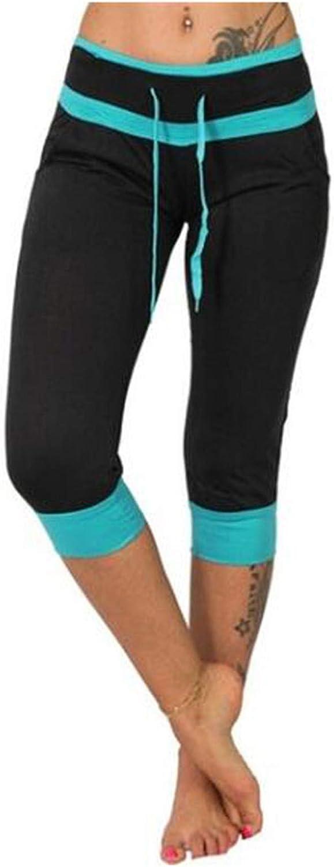 WUAI-Women Capri Yoga Sweatpants Casual Elastic Waist Drawstring Loose Workout Joggers Comfy Lounge Cropped Pants