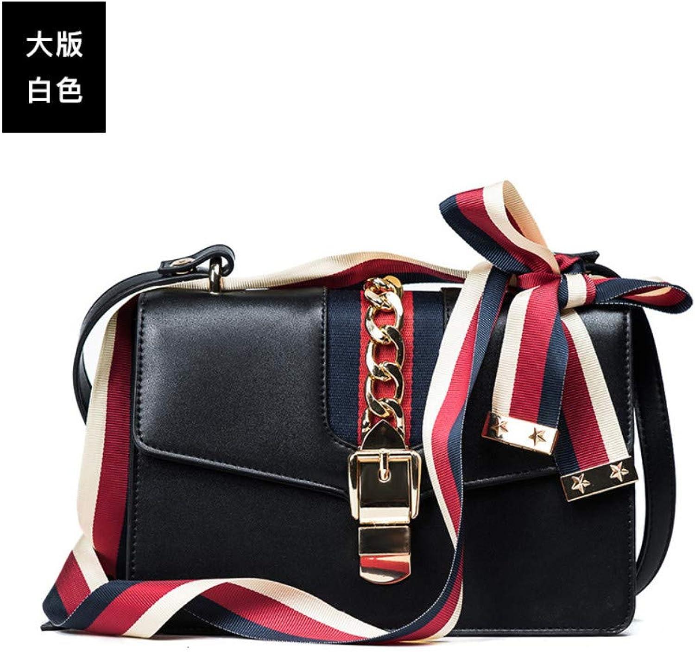 CLEBAO Pu, one Shoulder, Korean Version, Tidal Atmosphere, Portable, Simple, Wild, Crossbody Bag, Black, M