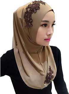 Lace Embroidery Chiffon Muslim Cap Hijab Scarf Islamic Cover Head Scarf
