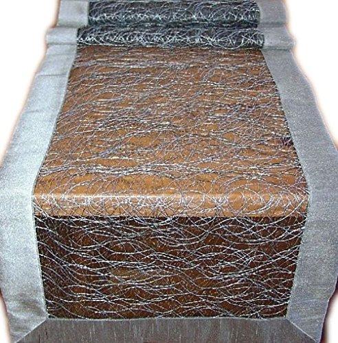 Tischdecke 40x160 cm Organza Grau Fizz Satin Organzaläufer Tischläufer Läufer