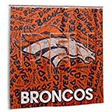 Fremont Die Denver Broncos Quality Polyester Fabric Waterproof Shower Curtain for Hotel Bathroom Showers and Bathtubs 72x72 in