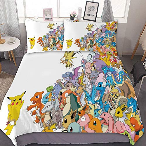 MEW Anime Bedding Duvet Cover Set,Full (80x90 inch), Pikachu Charmander Eevee Zapdos,3 Pieces Bedding Set,with Zipper Closure and 2 Pillow Shams, Cute Cartoon Bedroom Comforter Sets for Boys Girls