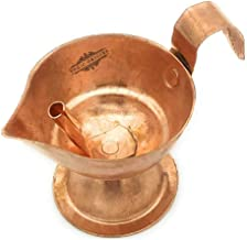 Yogic Origins Handmade Copper Diya for Pooja Diwali Decoration Gifts (100% Pure Copper Wick Holder, Handle) Akhand Jyot Aarti Diya for Puja, Mandir Deepam, Deepak Lamp (1, Small: 3 Hours / 4 cm)
