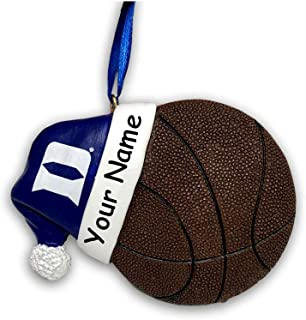 Personalized Duke University Blue Devils Collegiate Basketball with Santa Claus Stocking Cap Hanging Christmas Ornament with Custom Name