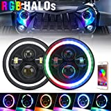 7 Inch LED Headlights RGB Halo Angel Eyes Multicolor DRL Phone APP Bluetooth Control for Jeep Wrangler JK LJ CJ TJ Sahara Sport Rubicon 1997 ~ 2017