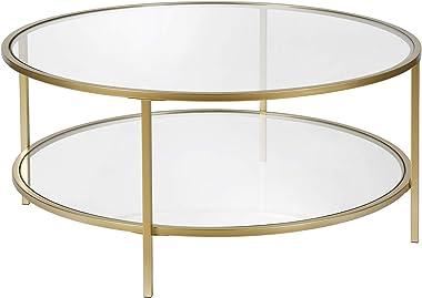 "Henn&Hart Round coffee table, Gold, 17"" H x 36"" L x 36"" W"