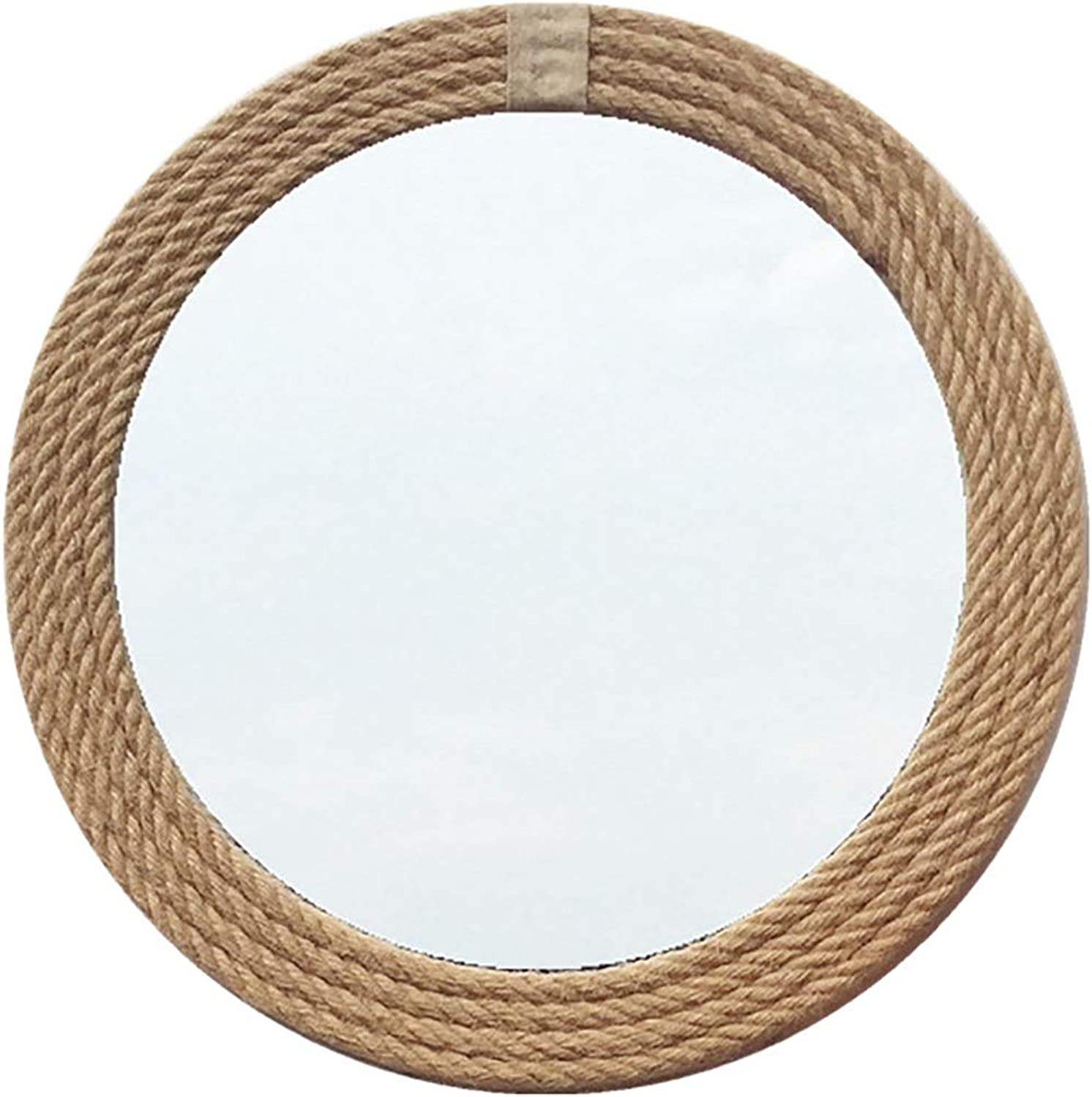 GUOWEI Mirror Wall-Mounted Floating Bathroom Decoration High Definition Wooden Rope Framed Makeup Rustic Circular, 4 Sizes (color   Khaki, Size   Diameter-30cm)