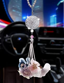 Bling Car Accessories Colorful Crystal Hanging Ornament Car Rear View Mirror Pendant Auto Accessories Interior Pendant (Crystal Ball - Flower-B)